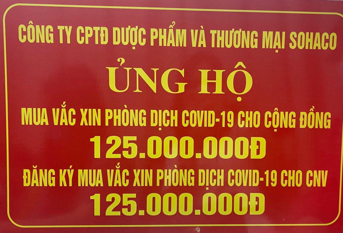 SOHACO ĐÓNG GÓP 250,000,000 ĐỒNG VÀO QUỸ PHÒNG, CHỐNG DỊCH COVID-19 CỦA UBMTTQVN TP HÀ NỘI